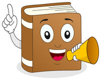 Book Character Holding a Megaphone Stock Photos