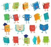 Book character vector cartoon emotion textbook with childish face expression on notebook cover at school illustration. Educational set of reading kawaii studing Stock Images