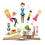 Book with Characters - People Vector Reading Books Concept. Book with Characters - People. Vector Reading Books Concept vector illustration