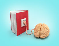 Book charging brain concept 3d illustration on gradient backgrow Royalty Free Stock Photography