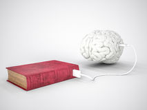 Book charging brain concept Royalty Free Stock Images