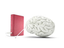 Book charging brain concept Royalty Free Stock Photo