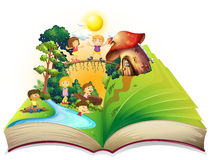 Book of children playing in the park Royalty Free Stock Photos