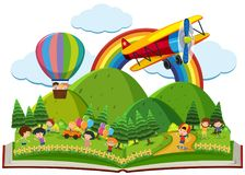 Book of children playing in park. Illustration Stock Image