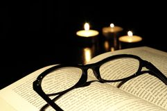 Book in church with copyspace Stock Photo