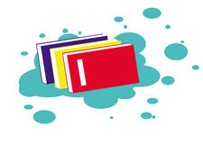 Book Clipart Design. Rainbow color books design clipart with three books red, yellow, blue, and cute blue background royalty free illustration