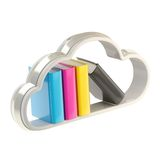 Book cloud shaped shelf icon emblem isolated. Cloud technology bookmark library as book cloud-shaped shelf cmyk colored icon emblem isolated on white Royalty Free Stock Photos