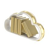Book cloud shaped shelf icon emblem isolated. Cloud technology bookmark library as book cloud-shaped shelf icon emblem made of gold isolated on white Royalty Free Stock Photography