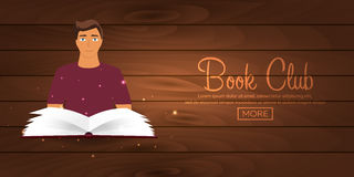 Book club. Reading club. Open book with mystic bright light. Vector illustration. Book club. Reading club. Open book with mystic bright light. Vector Stock Photo