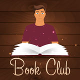 Book club. Reading club. Open book with mystic bright light. Vector illustration. Royalty Free Stock Images