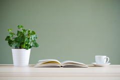 Book and coffee cup and green plant on desk Stock Photos