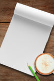 Book with coffee and pencil Royalty Free Stock Photo