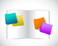 Book and color post notes illustration design. Over a white background Stock Photos