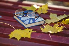 A book with colored leaves embedded in it lies on a bench in the Royalty Free Stock Photos