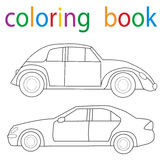 Book coloring. Car collection circuit stock illustration