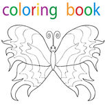 Book coloring. Cartoon butterfly character vector illustration