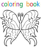 Book coloring. Cartoon butterfly circuit stock illustration