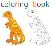 Book coloring. Cartoon dinosaur circuit royalty free illustration