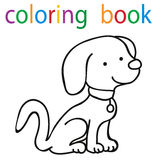 Book coloring. Cartoon dog character vector illustration