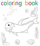 Book coloring. Cartoon fish character sea vector illustration
