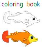 Book coloring. Cartoon fish sea stock illustration