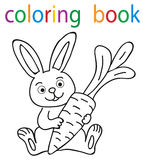 Book coloring. Cartoon hare with carrot vector illustration
