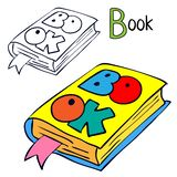 Book. Coloring book page. Cartoon vector illustration stock illustration