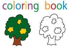 Book coloring. Tree isolated circuit stock illustration