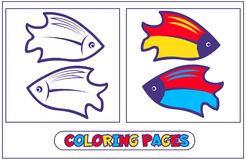 Marine inhabitants coloring pages6. Book coloring with two bright fish .. For destkogo creativity. Black-and-white drawing from lines for coloring with paints Stock Image