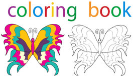 Book coloring. Vector, book coloring butterfly with an example royalty free illustration