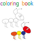 Book coloring. Vector, book coloring cartoon ant stock illustration