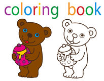 Book coloring. Vector, book coloring cartoon bear with honey royalty free illustration
