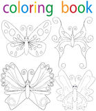 Book coloring. Vector, book coloring cartoon butterfly set stock illustration