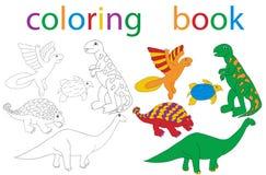 Book coloring. Vector, book coloring cartoon dinosaur set stock illustration