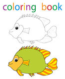 Book coloring. Vector, book coloring cartoon fish stock illustration