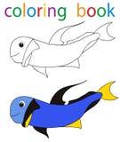Book coloring. Vector, book coloring cartoon fish blue stock illustration