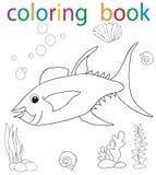 Book coloring. Vector, book coloring cartoon fish character sea stock illustration
