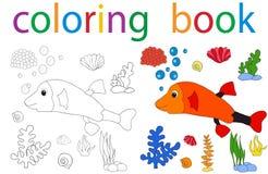 Book coloring. Vector, book coloring cartoon fish sea stock illustration