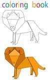 Book coloring. Vector, book coloring cartoon lion origami royalty free illustration