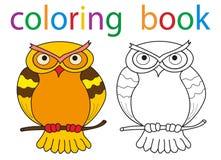 Book coloring. Vector, book coloring cartoon owl vector illustration