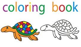Book coloring. Vector, book coloring cartoon turtle royalty free illustration