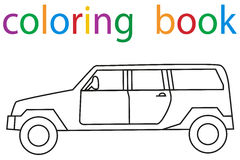 Book coloring. Vector, isolated book coloring book for boys car stock illustration