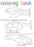 Book coloring. Vector, isolated book coloring helicopter and aircraft collection vector illustration