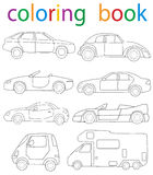 Book coloring. Vector, book coloring set of car cartoon stock illustration