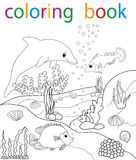Book coloring. Vector, book coloring the underwater world, fish royalty free illustration