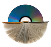 A book  and compact disk on white. A book with open pages and compact disk on white Royalty Free Stock Photography