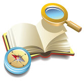 Book with compass and magnifier Royalty Free Stock Images