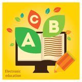 Book in computer with leaves, info graphic about electronic education. Royalty Free Stock Photography
