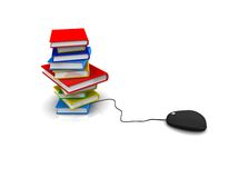 Book with computer mouse. Knowledge Database book with computer mouse Stock Photo