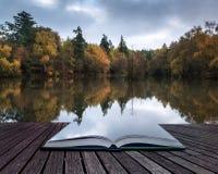 Book concept Beautiful vibrant Autumn woodland reflecions in cal Stock Photo